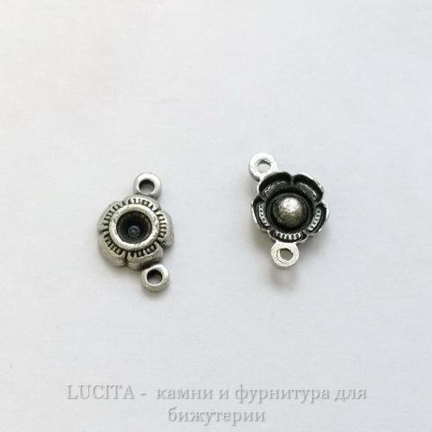 """Сеттинг - основа - коннектор """"Цветочек"""" (1-1) для страза 2,5 мм (оксид серебра) ()"""