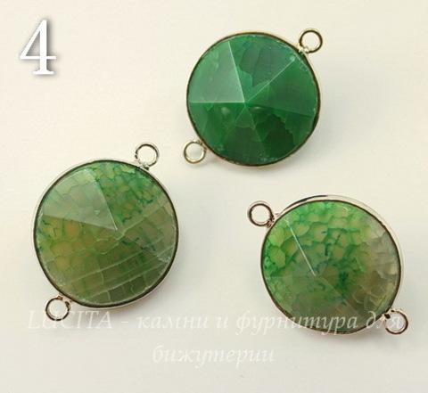 Коннектор (1-1) Агат с огранкой в рамке (цвет - платина) 29х21х15 мм (№4 (зеленый))