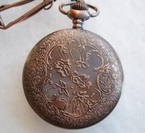 Часы на цепочке карманные с филигранью (цвет - античная медь) 64х46Х14 мм