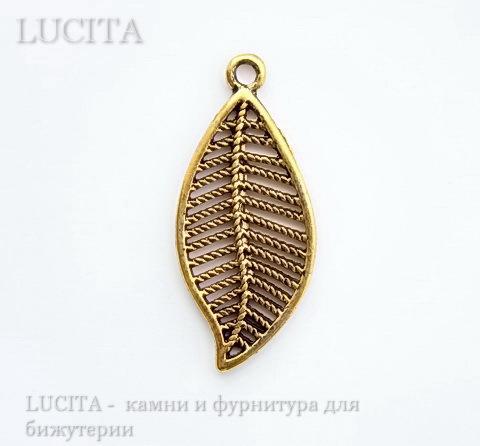 """Подвеска """"Листик"""" филигрань (цвет - античное золото) 27х12 мм ()"""