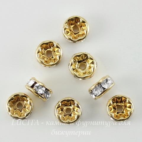 77506 Бусина - рондель Сваровски Crystal (цвет - золото) 6х3 мм ()