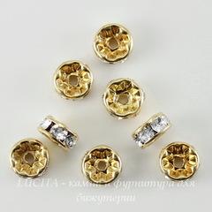77506 Бусина - рондель Сваровски Crystal (цвет - золото) 6х3 мм