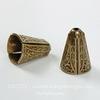 Винтажный декоративный элемент - шапочка - конус 14х10 мм (оксид латуни) ()