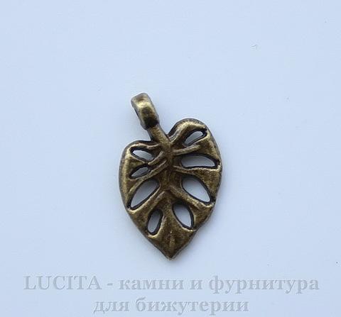 "Подвеска ""Лист"" (цвет - античная бронза) 20х12 мм ()"
