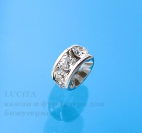 77504 Бусина - рондель Сваровски Crystal (цвет - серебро) 4х2 мм