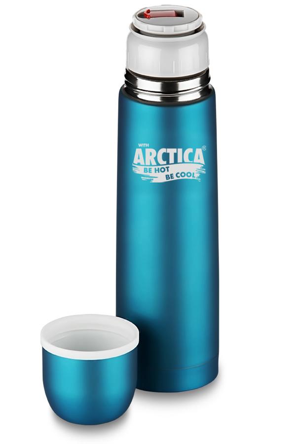 Термос Арктика (0,5 л.) с узким горлом классический, бирюзовый, резиновое покрытие, кнопка