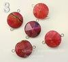 Коннектор (1-1) Агат с огранкой в рамке (цвет - платина) 29х21х15 мм (№3 (розовый))