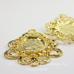 Сеттинг - основа - коннектор (1-1) для камеи или кабошона 23х17 мм (цвет - золото)