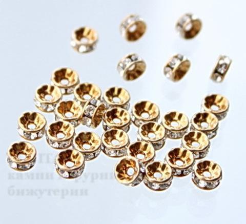 77504 Бусина - рондель Сваровски Crystal (цвет - античное золото) 4х2 мм ()