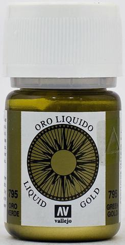 216. Краска Vallejo Liquid Gold Зеленое Золото 795 (Green Gold) Металлик, 35 мл