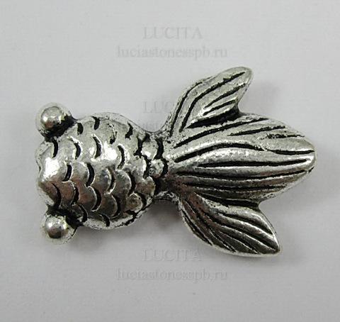 """Бусина металлическая """"Рыбка"""" 24х17 мм (цвет - античное серебро) (Изображение_304_exposure)"""