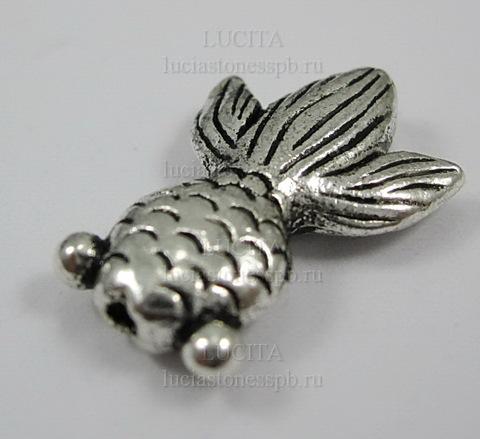 """Бусина металлическая """"Рыбка"""" 24х17 мм (цвет - античное серебро) (Изображение_308_exposure)"""