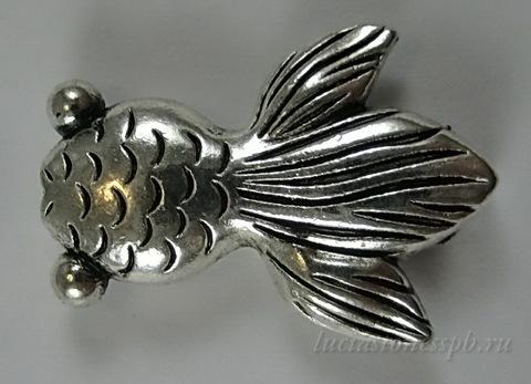 """Бусина металлическая """"Рыбка"""" 24х17 мм (цвет - античное серебро)"""