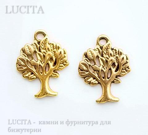 "Подвеска ""Дерево"" (цвет - античное золото) 21х17 мм"