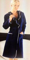 Элитный халат велюровый 4318 синий от Cawo