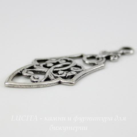 """Винтажный декоративный элемент - подвеска """"Готика"""" 35х15 мм (оксид серебра) ()"""