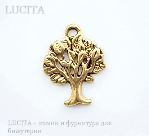 "Подвеска ""Дерево"" 21х17 мм (цвет - античное золото)"