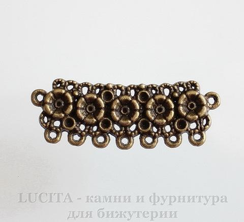 """Коннектор """"Ажурные цветы"""" (2-7) 43х15 мм (цвет - античная бронза)"""
