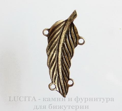 "Коннектор ""Листик"" (2-2) 48х23 мм (цвет - античная бронза)"