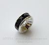 Бусина - рондель с черными фианитами (цвет - серебро) 8х4 мм, 5 штук