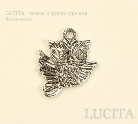 "Подвеска ""Сова"" (цвет - античное серебро) 20х17 мм ()"