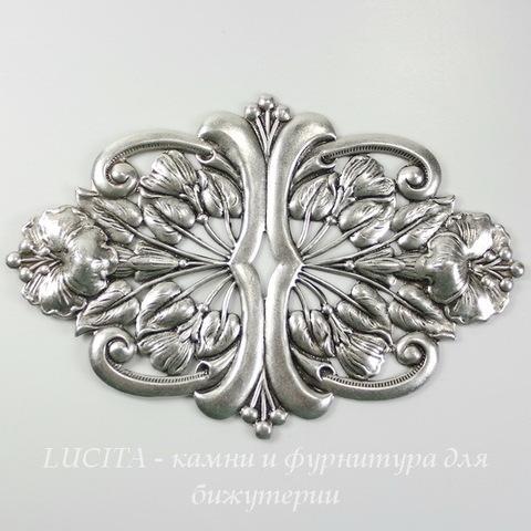 Винтажный декоративный элемент - штамп 94х62 мм (оксид серебра) ()