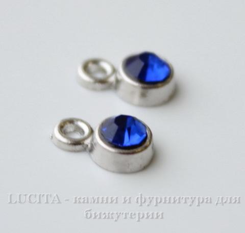 Подвеска маленькая с синим фианитом (цвет - античное серебро) 8х5 мм ()