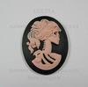 """Камея """"Скелет девушки"""" розового цвета  на черном  фоне 40х30 мм ()"""