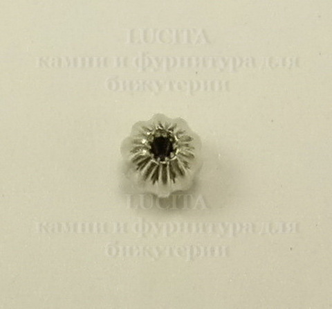 Бусина - спейсер (цвет - платина) 4 мм, 10 штук ()