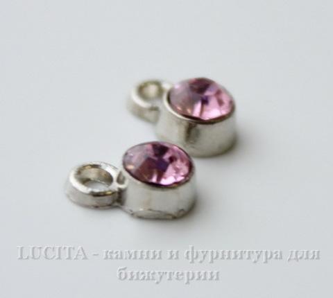 Подвеска маленькая с розовым фианитом (цвет - античное серебро) 8х5 мм ()
