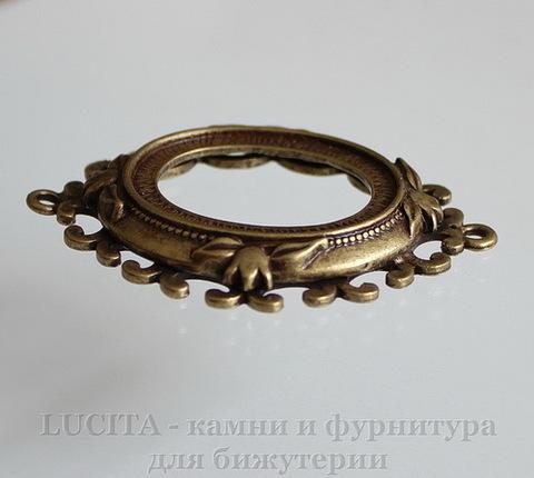Сеттинг - коннектор 49х39 мм для камеи или кабошона 31х24,5 мм (цвет- античная бронза) ()
