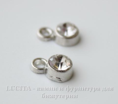 Подвеска маленькая с прозрачным фианитом (цвет - античное серебро) 8х5 мм ()