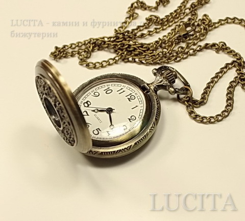 Часы на цепочке (цвет - античная бронза) 53х39х13 мм ()