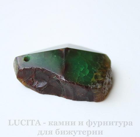 """Подвеска Агат """"Крэкл"""" (тониров) (цвет - коричнево-зеленый) 43х36,1х15,4 мм №12"""