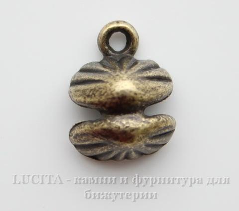 """Подвеска 3D """"Ракушка с жемчужиной"""" 14х11х7 мм (цвет - античная бронза) ()"""