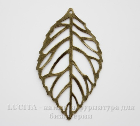 "Подвеска ""Лист"" (цвет - античная бронза) 54х32 мм"