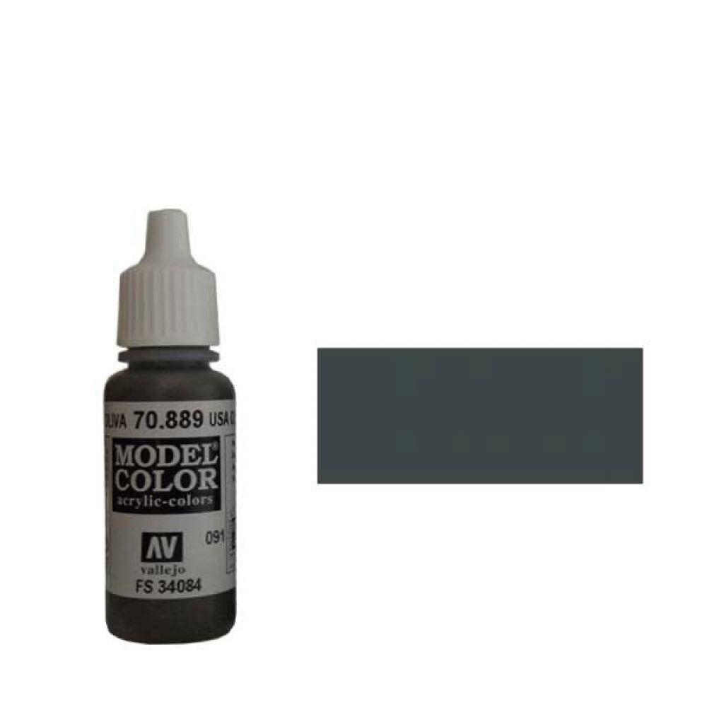 091. Краска Model Color Тускло-Коричневый 889 (USA Olive Drab) укрывистый, 17мл