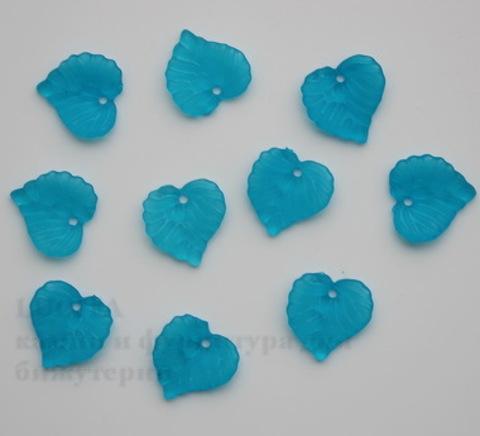 Акриловый листик темно-голубой 15х15 мм ,10 штук