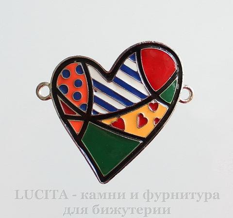 """Коннектор с эмалью """"Сердце"""" (1-1)(цвет - античное серебро) 46х38 мм ()"""