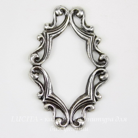 Винтажный декоративный элемент - рамка 29х19 мм (оксид серебра)