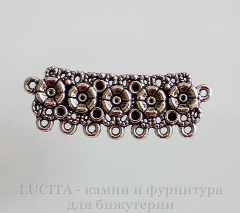 """Коннектор """"Ажурные цветы"""" (2-7) 43х15 мм (цвет - античное серебро)"""