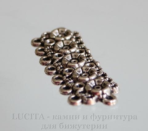 """Коннектор """"Ажурные цветы"""" (2-7) 43х15 мм (цвет - античное серебро) ()"""