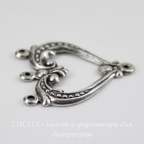 Винтажный декоративный элемент - коннектор (1-3) 22х19 мм (оксид серебра) ()