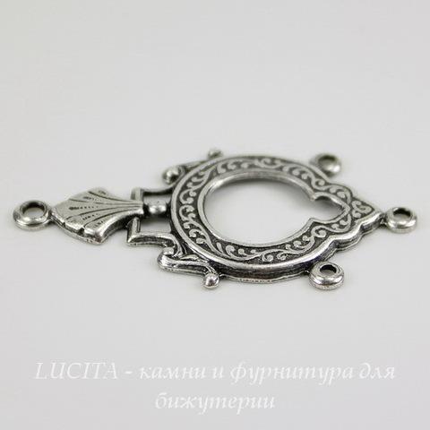 Винтажный декоративный элемент - коннектор (1-3) 35х18 мм (оксид серебра) ()