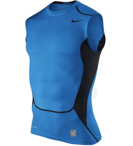 Футболка компрессионная Nike Hypercool Comp SL Top 1.2 голубая