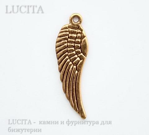 """Подвеска """"Крыло"""" (цвет - античное золото) 30х9 мм"""