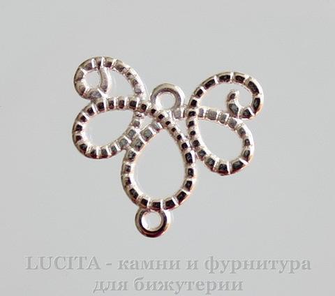 "Коннектор ""Ажурный"" (1-1) 21х21 мм (цвет - серебро)"