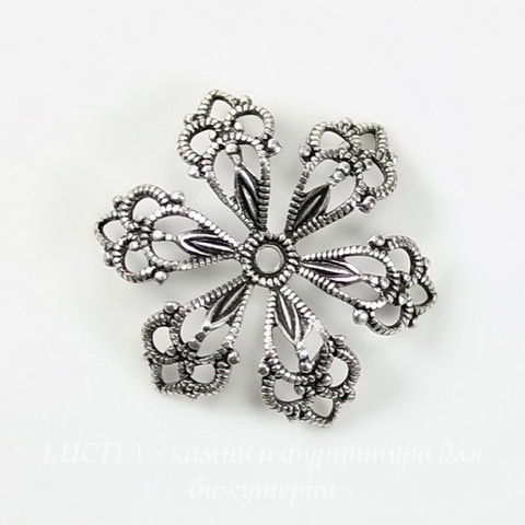 Винтажный декоративный элемент - шапочка 20х3 мм (оксид серебра) ()
