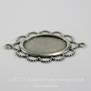 """Сеттинг - основа - коннектор """"Ажурный"""" (1-1) для камеи или кабошона 18х13 мм (оксид серебра) ()"""
