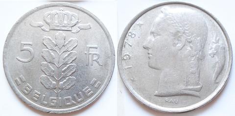 Бельгия 5 франков 1978